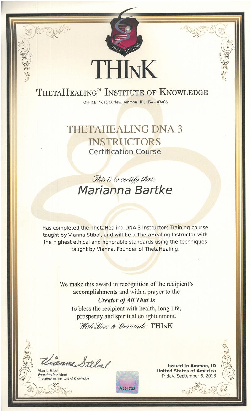 Theta Healing® - Instruktor DNA 3 - 06.09.2013