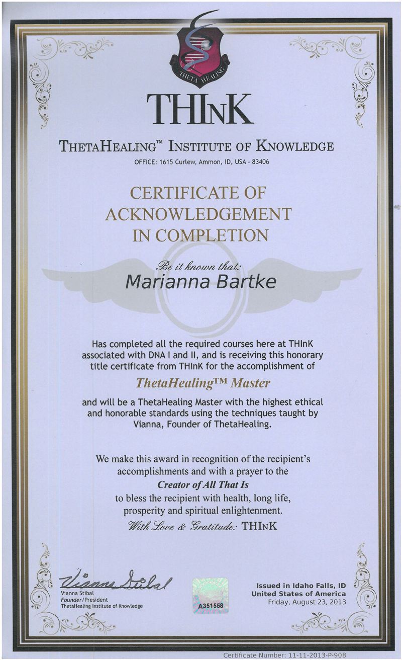Certyfikat Mistrza metody Theta Healing® - 23.08.2013