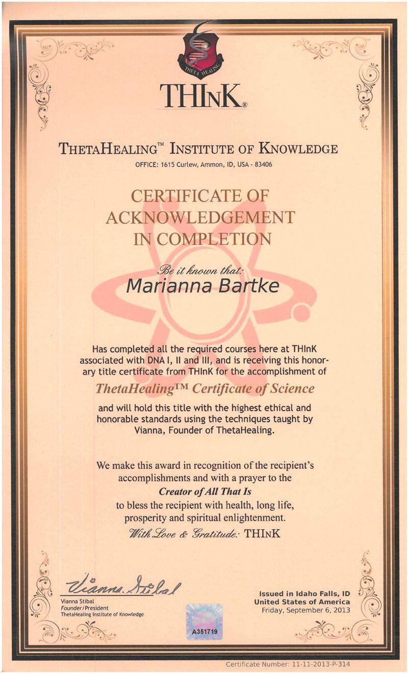Theta Healing® - Certyfikat Nauki Mistrza Theta Healing® - 06.09.2013