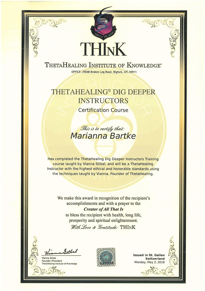 Theta Healing® - Instruktor Kop Głębiej - 02.05.2016