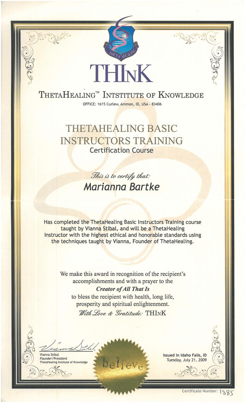Theta Healing - Instruktor stopnia Podstawowego - 21.07.2009