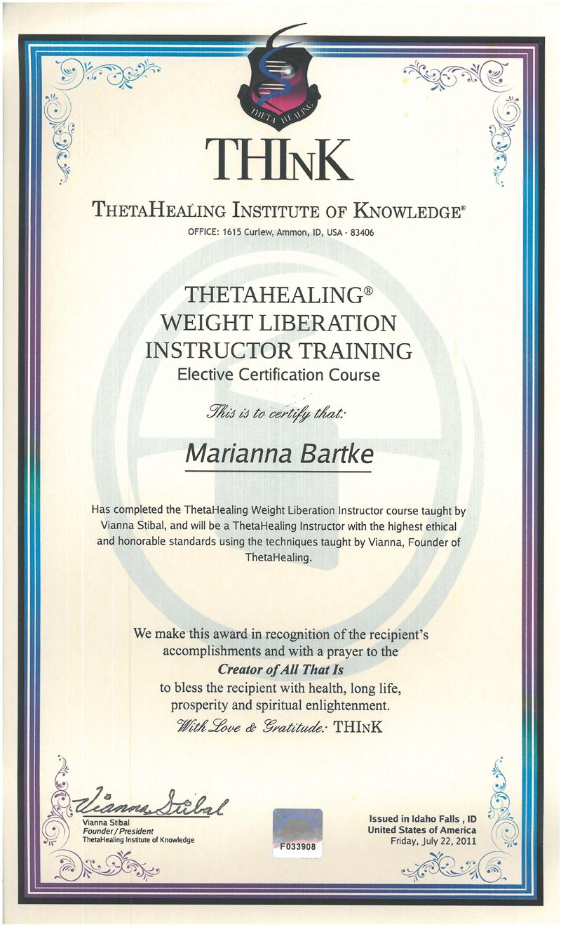 Theta Healing® - Instruktor RYTM do wagi Idealnej - 22.07.2011