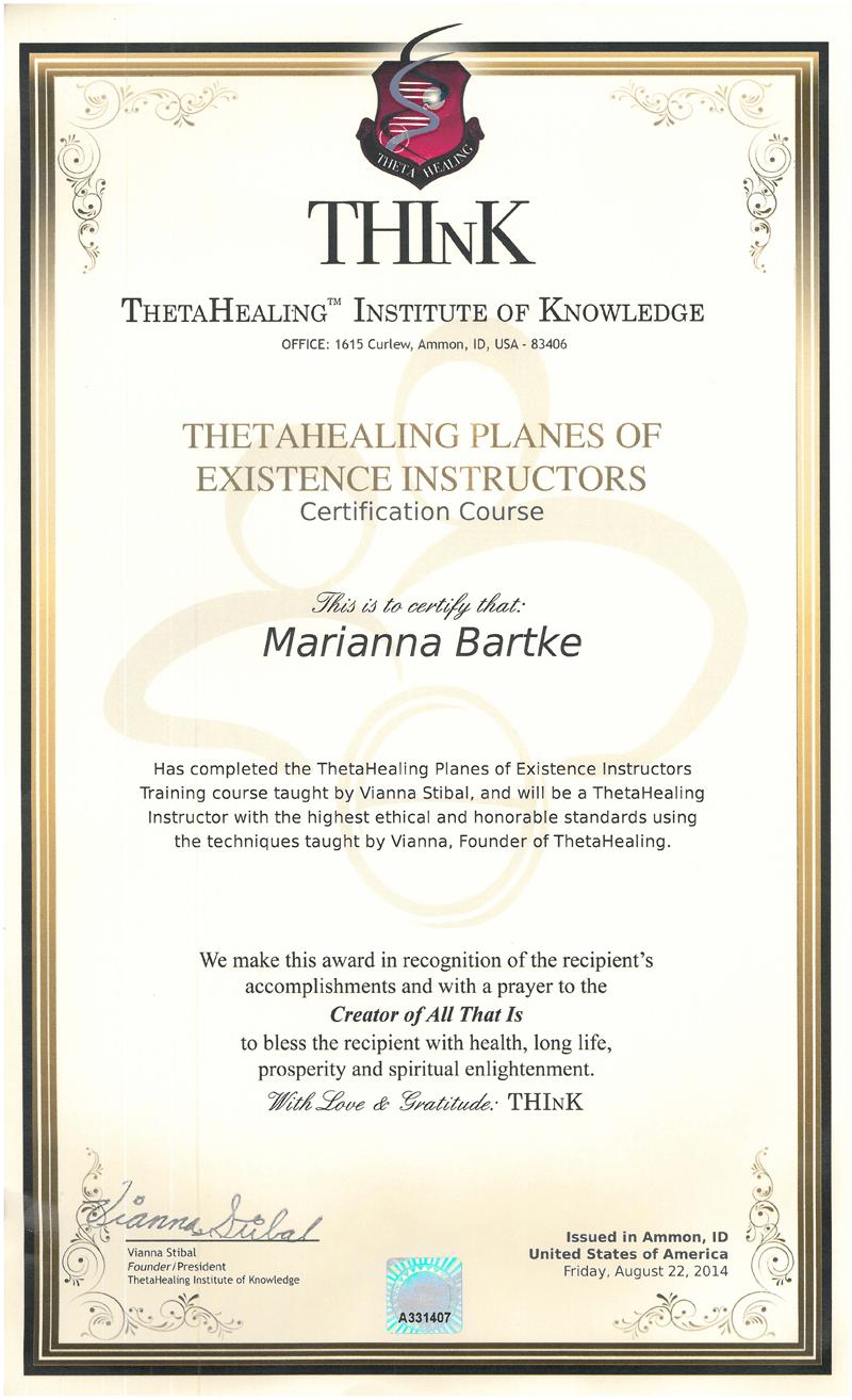 Theta Healing® - Instruktor Siedmiu Planów Egzystencji - 22.08.2014