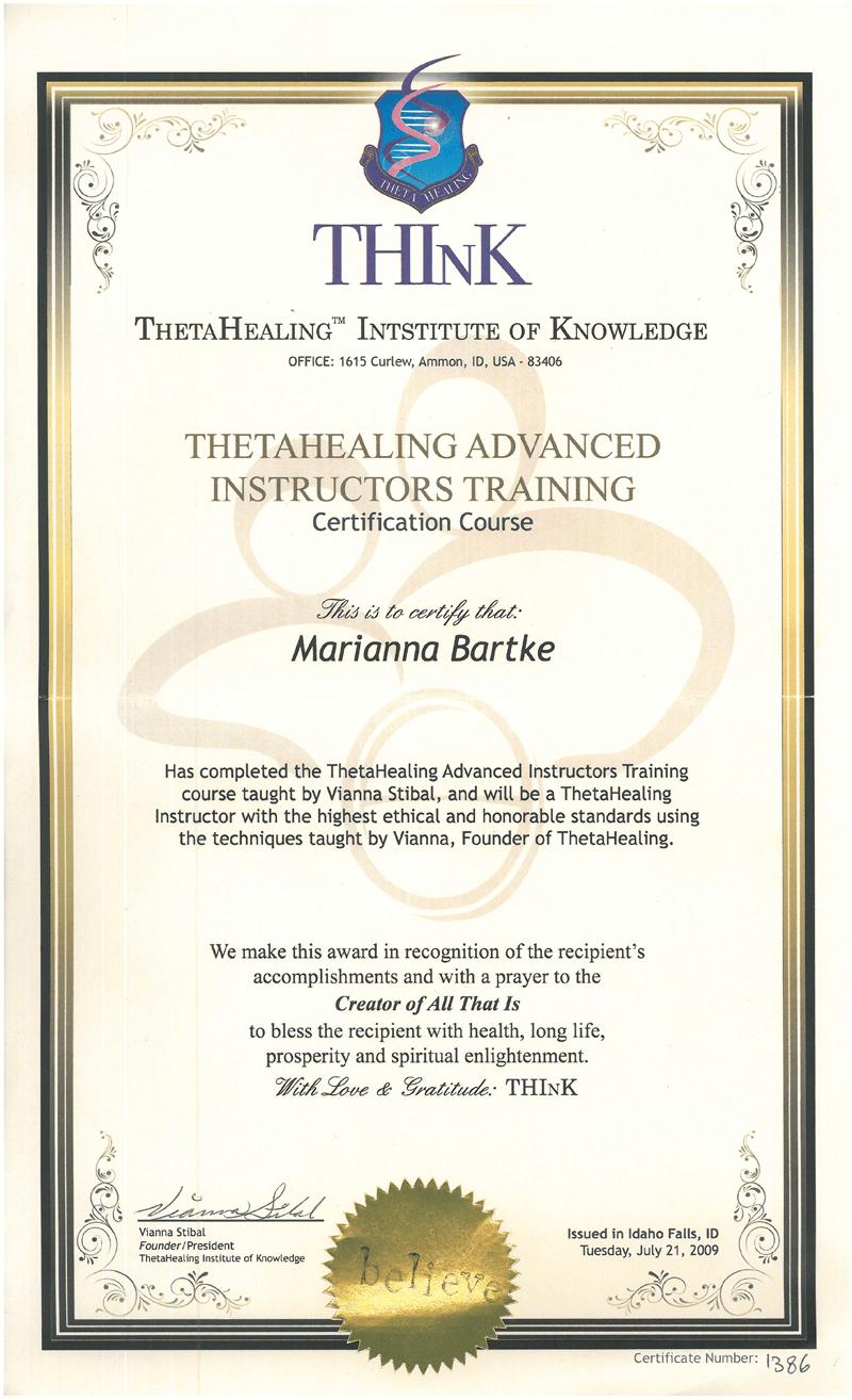 Theta Healing - Instruktor stopnia Zaawansowanego - 21.07.2009