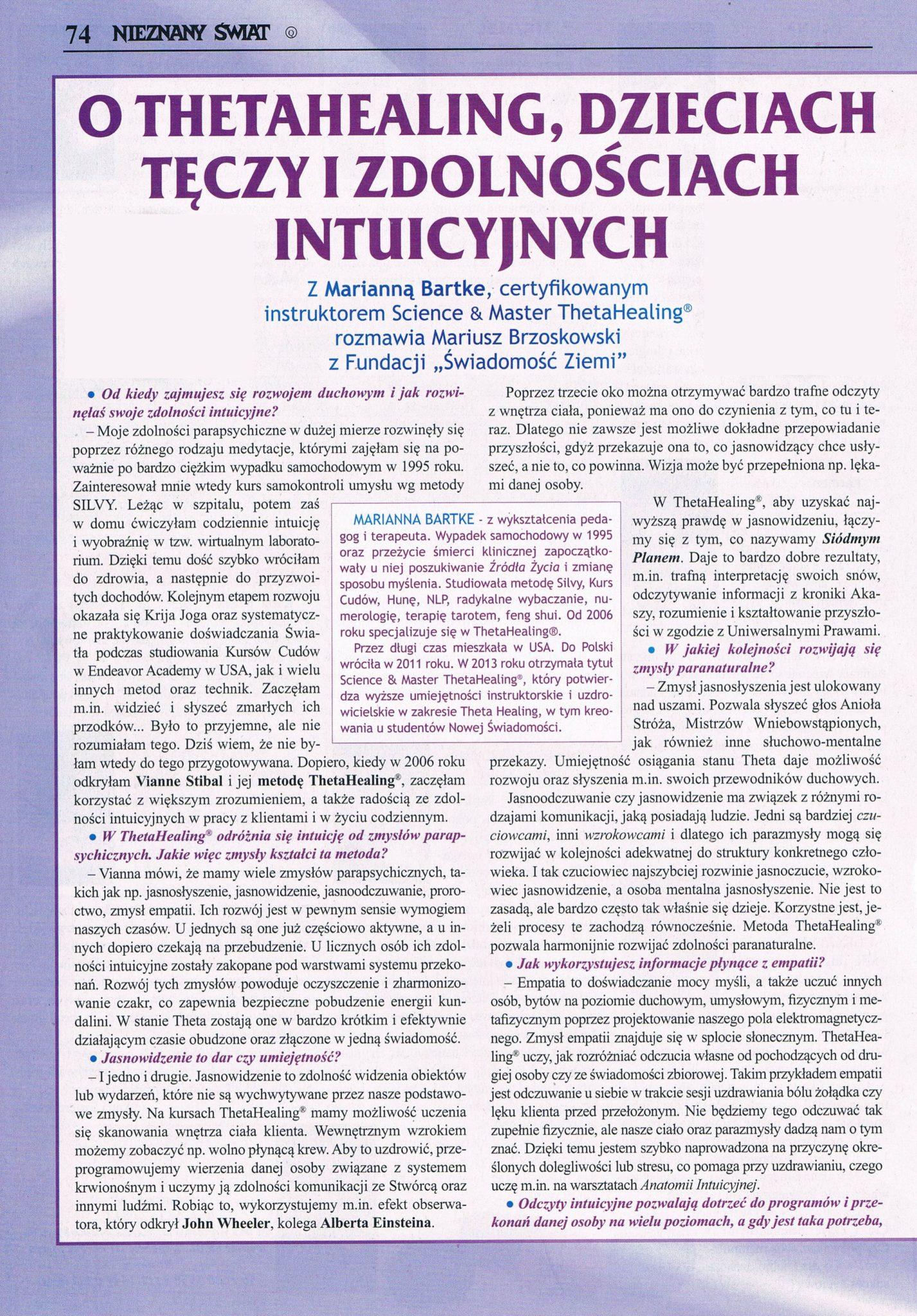Nieznany Świat - O ThetaHealing, Dzieciach Tęczy i zdolnościach intuicyjnych. cz.1